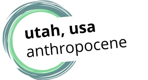 "This is a logo with the words ""Utah, USA Anthropocene"" surrounded by incomplete circle drawn in blue and green brushstroke style."
