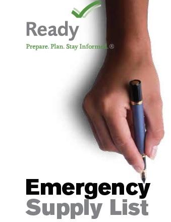 FEMA Emergency Supply Checklist