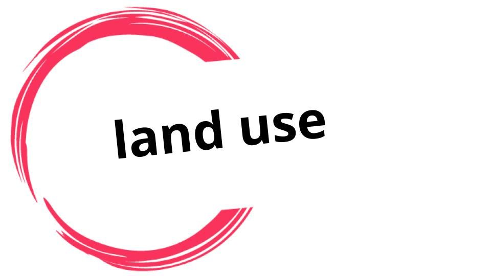 "This is a logo with the words ""land use"" surrounded by incomplete circle drawn in red brushstroke style."