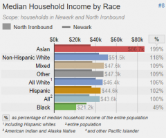 Median Household Income by Race #8   Scope: households in Newark and North Ironbound  North Ironbound  Newark        $0k $20k $40k $60k $80k   %   Asian   Non-Hispanic White   Mixed   Other   All White 1   Hispanic   All 2   Black    $86.7k 199%    $51.5k