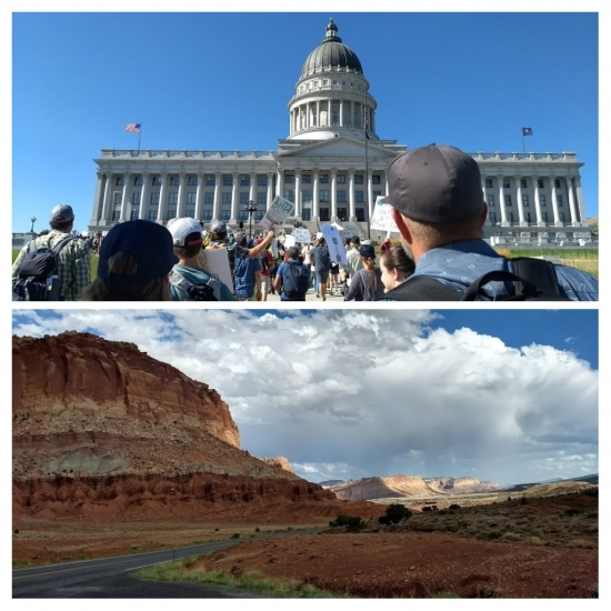 This image is a collage of two images: the top picture shows protestors at the Utah state capitol buildings, while the bottom picture shows red sandstone landscape in Capitol Reef National Park