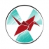 Visual motif for the Radiation Governance symposium (March 2021): Image of a radiation trefoil sign superimposed by an origami crane