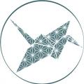 Blue Origami Crane with classic japanese graphic design